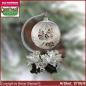 Preview: Christmas decoration glass ball with candles ring and glass stand Winterzeit glass from Lauscha Thüringen.