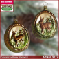 Preview: Christmas tree ornaments Medallion with deer glass figure glass shape Collectible glass from Lauscha Thüringen.