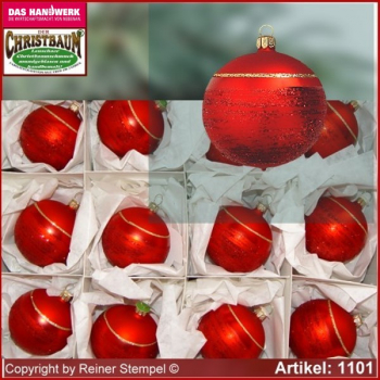 Christmas tree ornaments glass balls set 12-pc. Classic