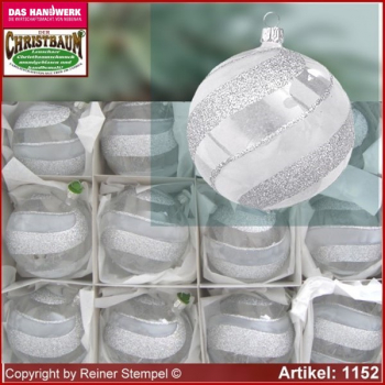 Christmas tree ornaments glass balls Christmas balls Set 12-pc. Frost Lauscha Glass Art ®.