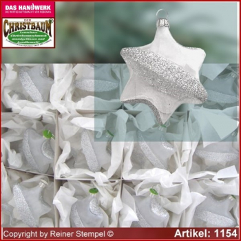 Christmas tree ornaments made of glass star Frost Set 12-pc. glass from Lauscha Thüringen.