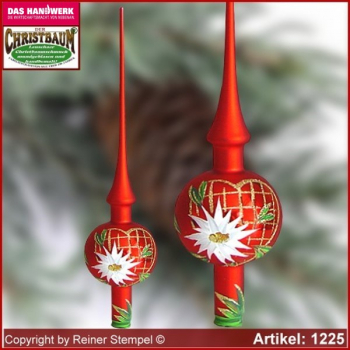Christmas tree ornaments glass tree top Landdhaus Rot with Edelweiss in heart Lauscha Glass Art ®.
