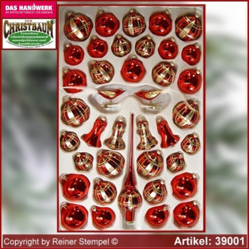 Christbaumschmuck Sortiment 39-tlg. Exclusiv Rot Gold