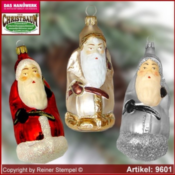 Christmas tree ornaments Santa Claus with stick and gifts bage glass figure glass shape Collectible Lauscha Glass Art ®.