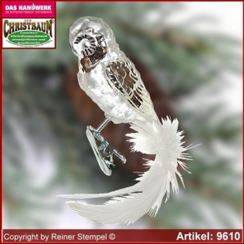 Christmas tree ornaments Snow owl glass figure glass shape Collectible
