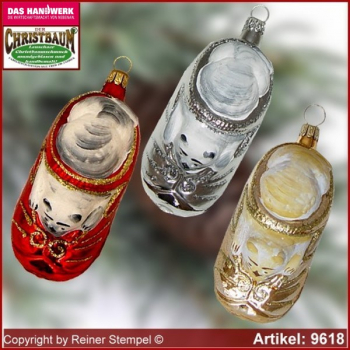 Christmas tree ornaments Cat in the shoe glass figure glass shape Collectible
