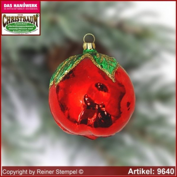 Christmas tree ornaments apple glass figure glass shape Collectible Lauscha Glass Art ®.