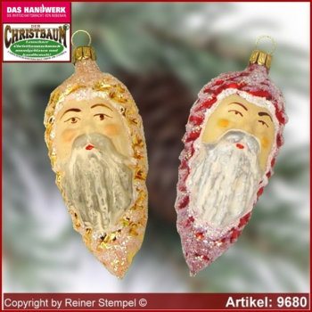 Christmas tree ornaments pine cones with face glass figure glass shape Collectible