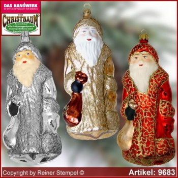 Christmas tree ornaments big Santa Claus glass figure glass shape Collectible
