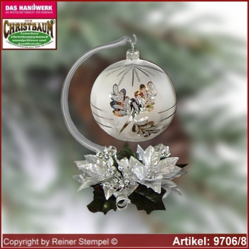 Christmas decoration glass ball with candles ring and glass stand Winterzeit glass from Lauscha Thüringen.
