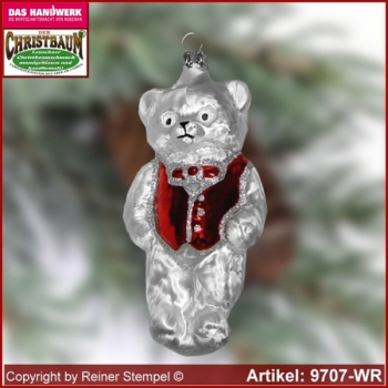 Christmas tree ornaments bear with vest glass figure glass shape Collectible