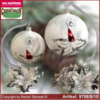 Christmas decoration glass ball with candles ring and glass stand Märchenzeit Lauscha Glass Art ®.