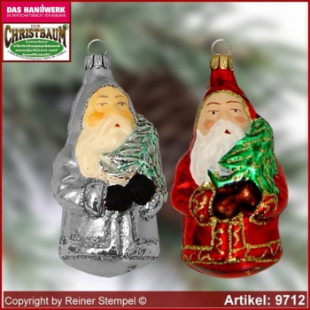 Christmas tree ornaments Santa Claus with tree glass figure glass shape Collectible