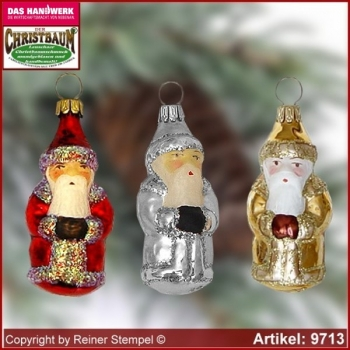 Christmas tree ornaments Santa Claus mini glass figure glass shape Collectible glass from Lauscha Thüringen.