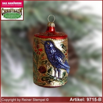 Christmas tree ornaments bird in the tree trunk glass figure glass shape Collectible