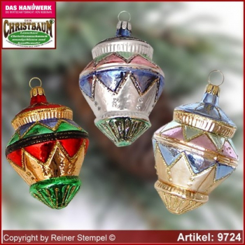 Christmas tree ornaments gyroscope glass figure glass shape Collectible Lauscha Glass Art ®.