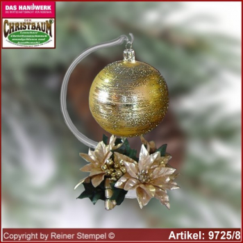 Christmas decoration glass ball with candles ring and glass stand Eleganz glass from Lauscha Thüringen.
