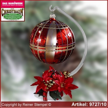 Christmas decoration glass ball with candles ring and glass stand Exklusiv Rot/Gold glass from Lauscha Thüringen.