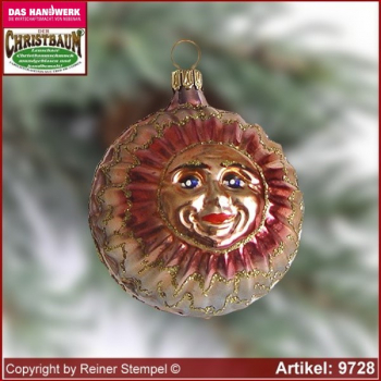 Christmas tree ornaments Sun-Moon glass figure glass shape Collectible glass from Lauscha Thüringen.