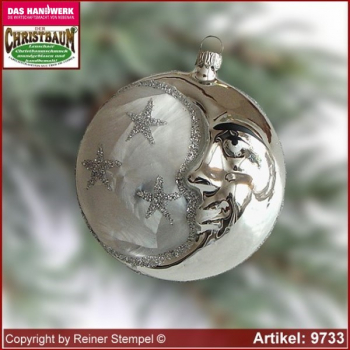 Christmas tree ornaments moon thaler glass figure glass shape Collectible