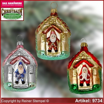 Christmas tree ornaments house with santa claus glass figure glass shape Collectible