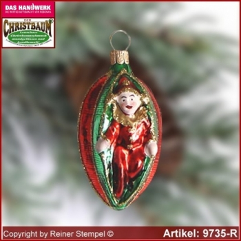 Christmas tree ornaments Harlequin in Olive glass figure glass shape Collectible