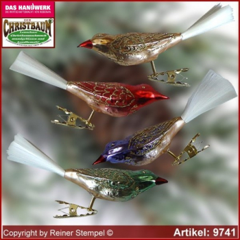 Christmas tree ornaments glass birds small glass figure glass shape glass bird Collectible