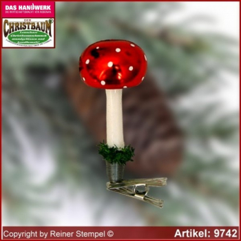 Christmas tree ornaments toadstool glass figure glass shape Collectible