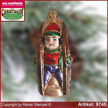Christmas tree ornaments child on sled glass figure glass shape Collectible