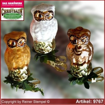 Christmas tree ornaments glass bird owl glass figure glass shape Collectible