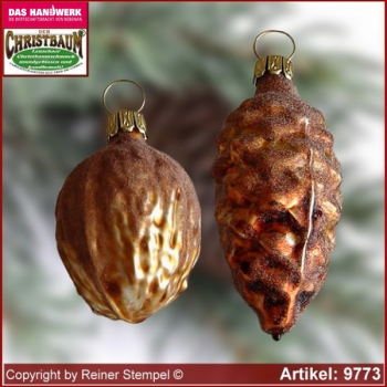 Christmas tree ornaments walnut and pine cones glass figure glass shape Collectible