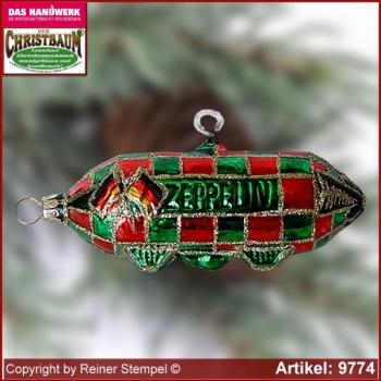Christmas tree ornaments Zeppelin glass figure glass shape Collectible Lauscha Glass Art ®.