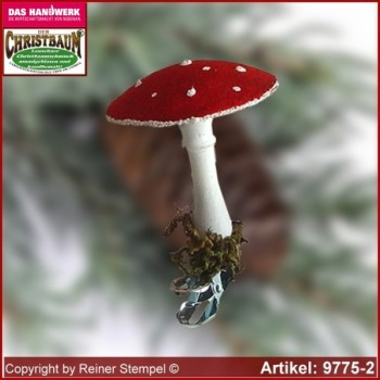 Christmas tree ornaments toadstool velvet in 3 glass forms glass figure glass shape Collectible