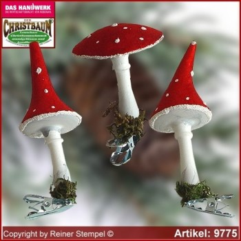 Christmas tree ornaments toadstool velvet glass figure glass shape Collectible Lauscha Glass Art ®.