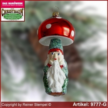 Christmas tree ornaments toadstool with dwarf glass forms glass figure glass shape Collectible