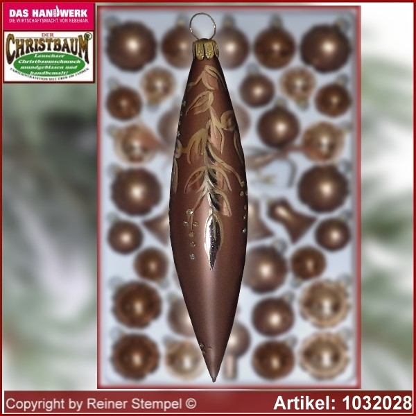 Christmas tree decorations - assortment The Mystery of the wood - Glass olive 12cm 4pc./box