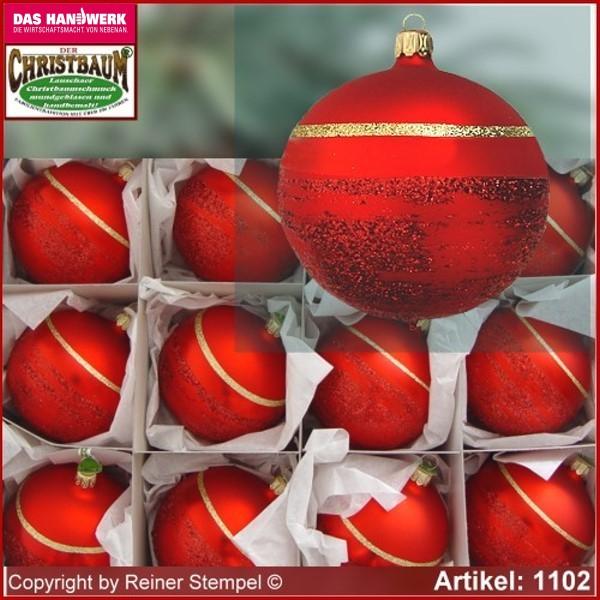 Lauschaer Weihnachtskugeln.Christbaumschmuck Kugeln Glaskugeln Set 12 Tlg Classic