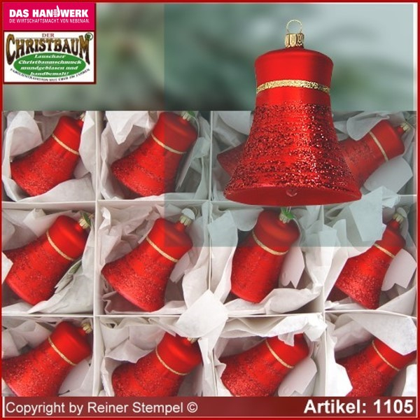 Christmas tree ornaments made of glass bells Classic Set 12-pc. Lauscha Glass Art ®.