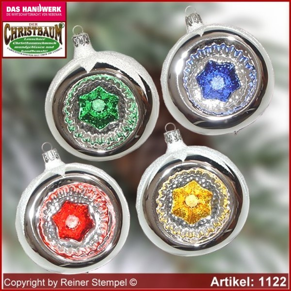 Christmas tree ornaments glass balls Christmas balls with reflex Set 12-pc. Ols German Lauscha Glass Art ®.