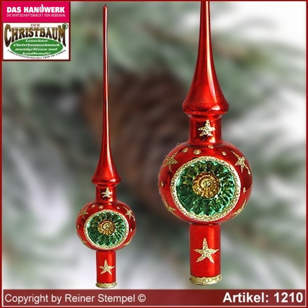 Christmas tree ornaments glass tree top with Reflex Bergweihnacht Rot Lauscha Glass Art ®.