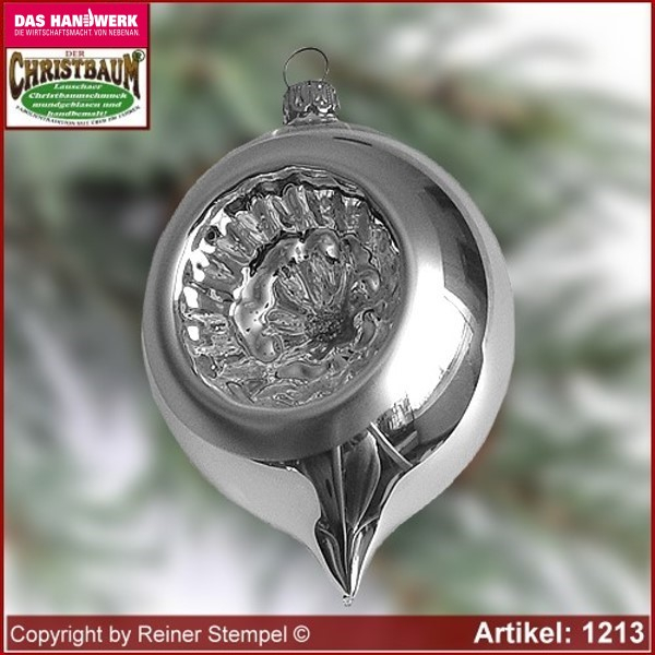 Christmas tree ornaments made of glass olives with reflex German Tradition Set 12-pc. Lauscha Glass Art ®.
