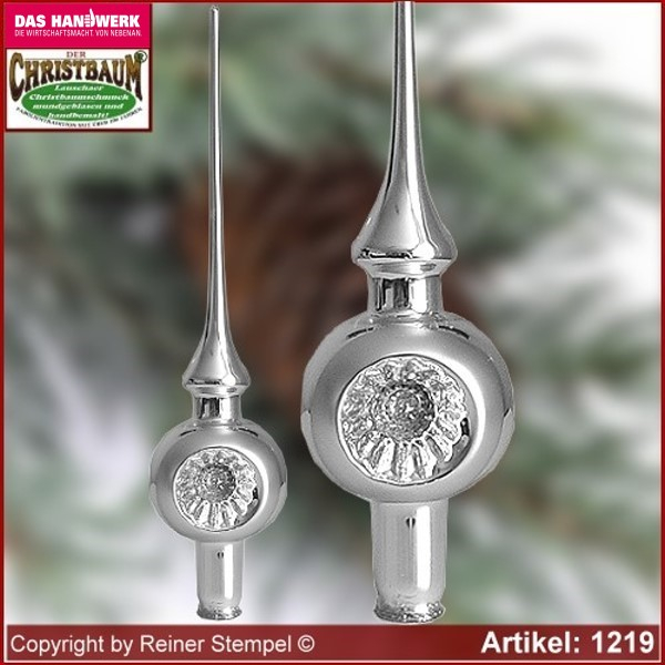 Christmas tree ornaments glass tree top with Reflex German Tradition Lauscha Glass Art ®.