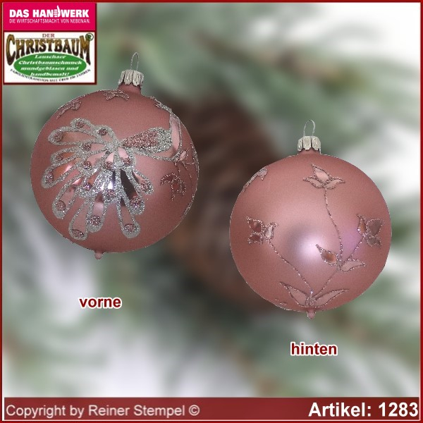 Christmas tree ornaments glass balls Christmas balls Set 12-pc. Charme with peacock and leaf decor glass from Lauscha Thüringen.