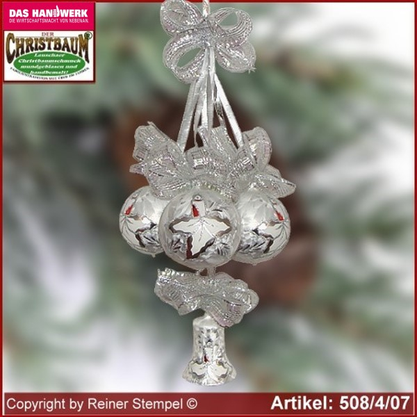 Christmas decoration glass balls bell 4-pc. Märchenzeit Lauscha Glass Art ®.