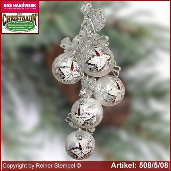 Christmas decoration glass balls Christmas balls 5-pc. Märchenzeit glass from Lauscha Thüringen.