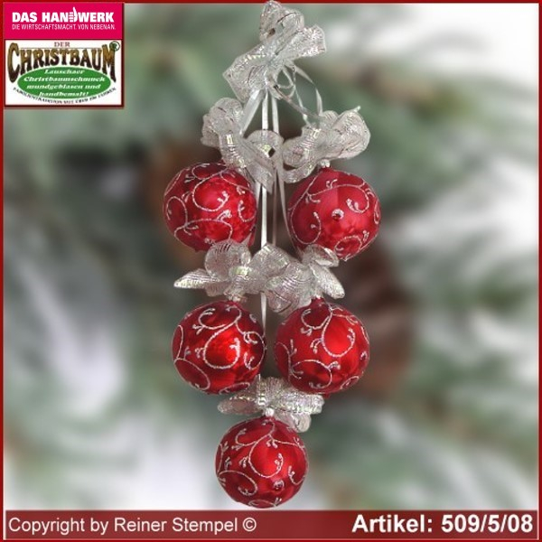 Christmas decoration glass balls Christmas balls 5-pc. Rokoko Lauscha Glass Art ®.