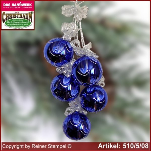 Christmas decoration glass balls Christmas balls 5-pc. Winternacht glass from Lauscha Thüringen.