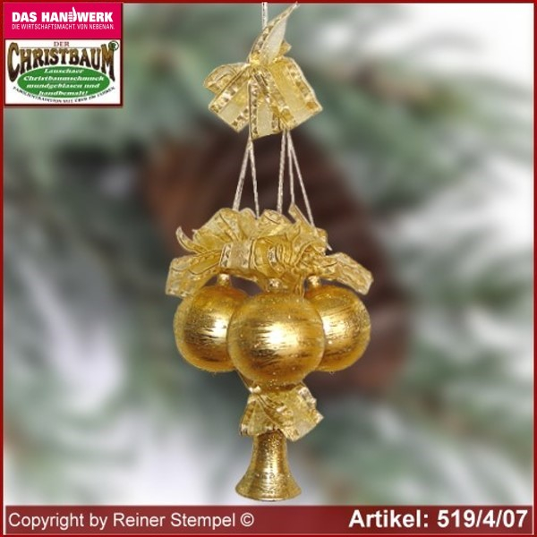 Christmas decoration glass balls bell 4-pc. Eleganz glass from Lauscha Thüringen.
