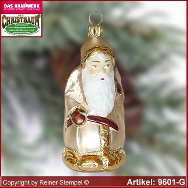 Christmas tree ornaments Santa Claus with stick and gifts bag glass figure glass shape Collectible