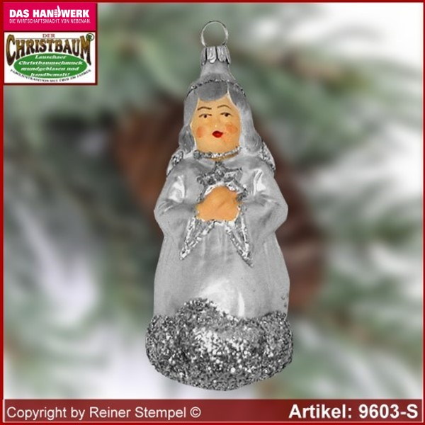 Christmas tree ornaments Angel with star glass figure glass shape Collectible